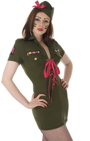 Ladies Platoon Commander Army Fancy Dress Costume FUN2257 Cheap Fancy Dress @ www.partyonfancydress.co.uk loads of outfits to make your Party or Night out one to remember!!
