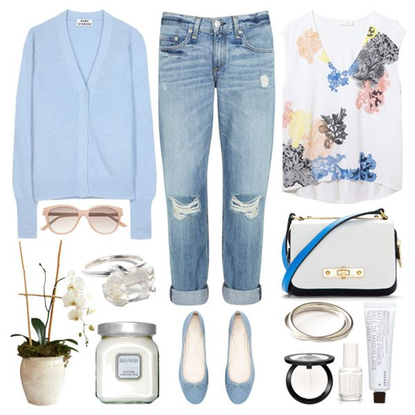 Голубые балетки, синие джинсы, голубой свитер