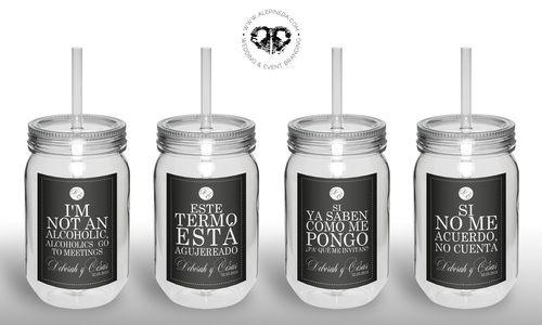 Fun Custom Plastic Favor drink bottles, Termos personalizados para boda