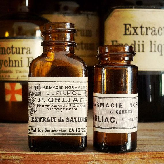 vintage medicine bottles with old French pharmacy labels, available at AtticAntics, $9.50