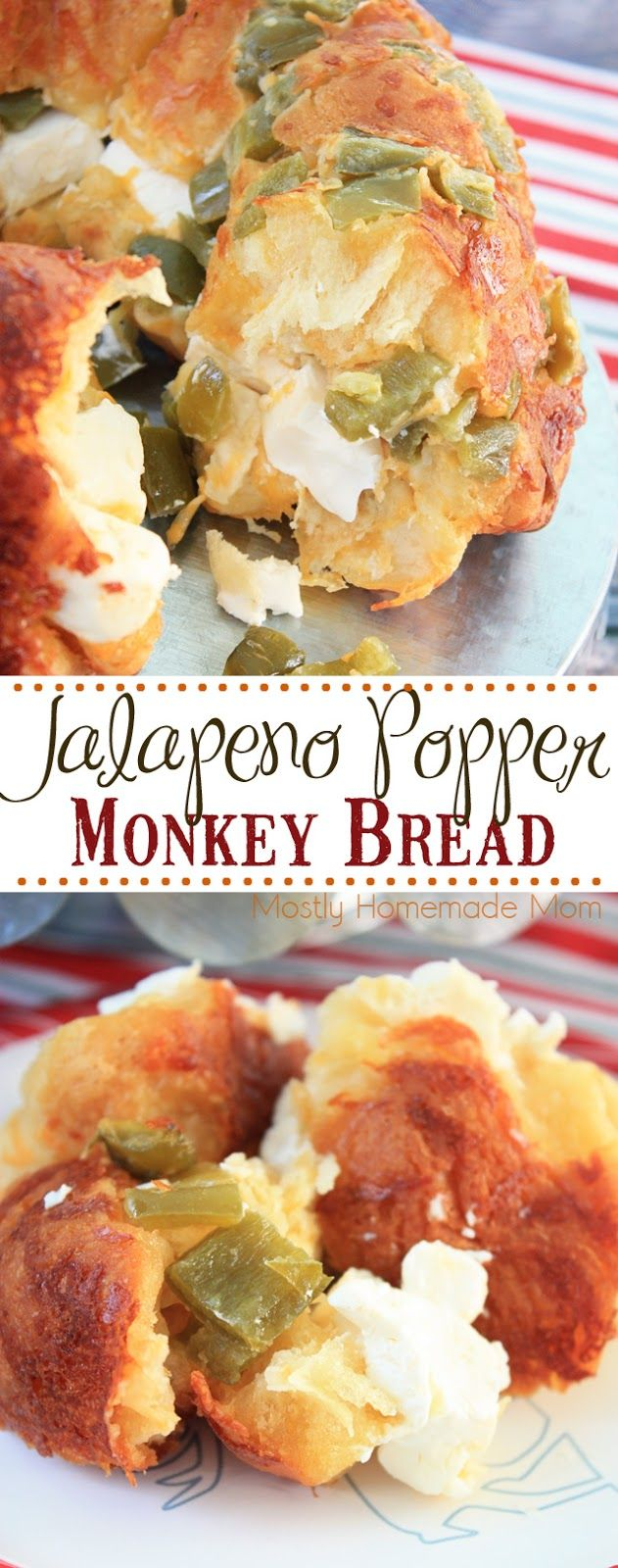 Jalapeno Popper Monkey Bread - the perfect party food or game day recipe! Spicy jalapenos, cheddar cheese, and cream cheese along with biscuits - great to set out on an appetizer table! #VivaLaMorena #ad