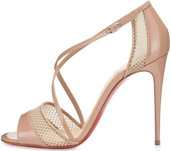 white louboutins shoes - Christian Louboutin Beige Silkova Patent Leather \u0026amp; Mesh Sandals ...