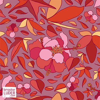 Seamless Autumn Fall Leaves Pattern by Brooke Luder - ditsy patterns, wallpaper, backgrounds, repeat, repeating, fabric, print, pink, hibiscus, flowers, leaves, maple, leaf, illustration   https://stock.adobe.com/nz/contributor/206825898/brooke