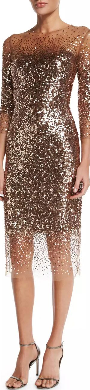Monique Lhuillier Sequined Ombre Illusion 3/4-Sleeve Dress, Bronze