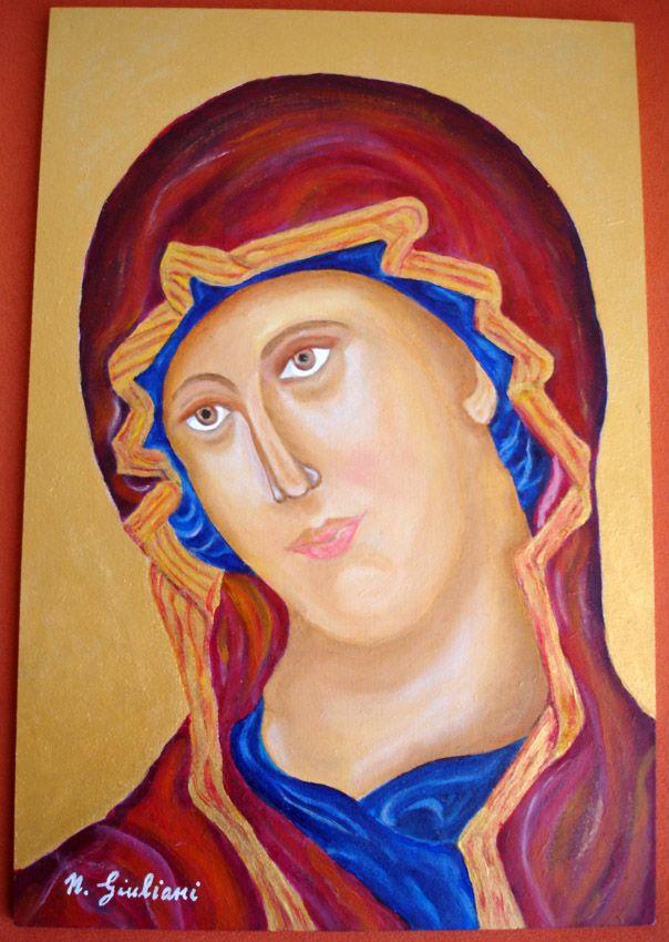 Madonna Bizantina: misto acrilico + olio su legno 20x30