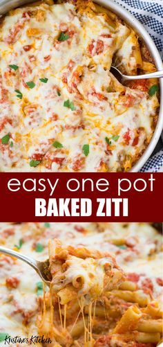 Easy One Pot Baked Ziti Recipe Made With Ricotta Ground Beef Or Italian Sausage A Ground Italian Sausage Recipes Italian Sausage Recipes Ground Sausage Recipes
