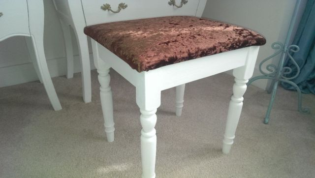 """Bedroom dressing table stool the base is pine painted in white chalk paint. The stool measures 16"""" x"""