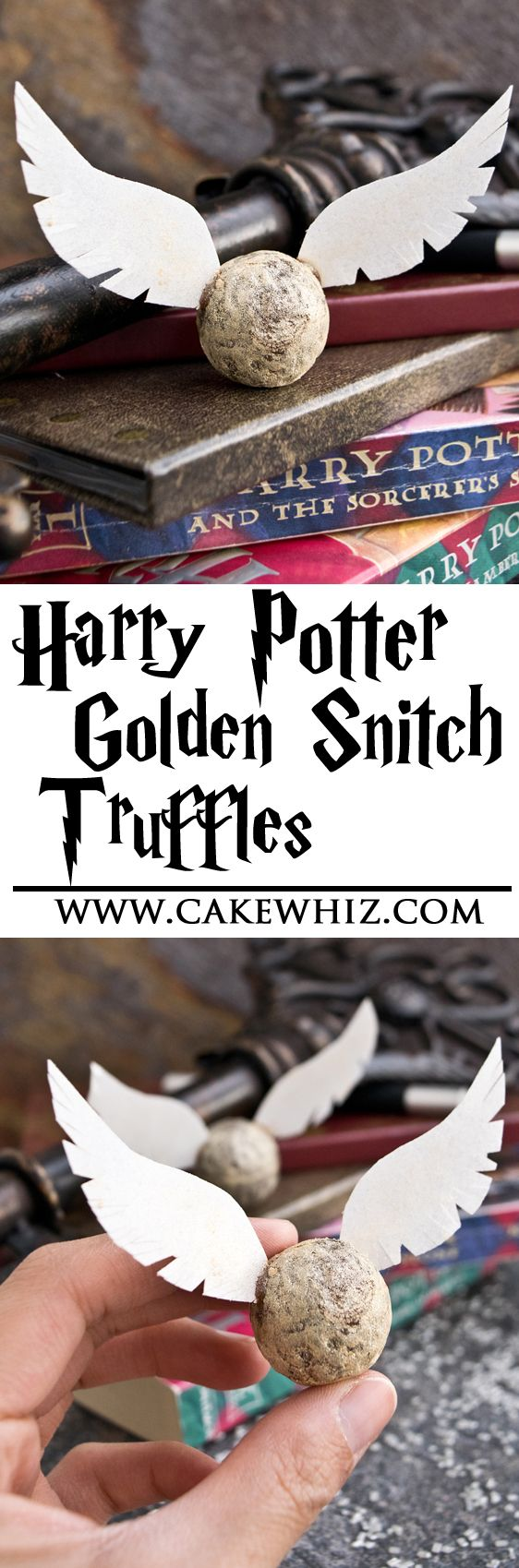 These easy and totally edible GOLDEN SNITCH TRUFFLES are perfect for serving at a Harry Potter party or snacking on, while doing a movie marathon. From cakewhiz.com