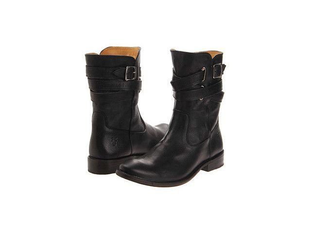 Frye Shirley Strappy Short Cowboy Boots - Black