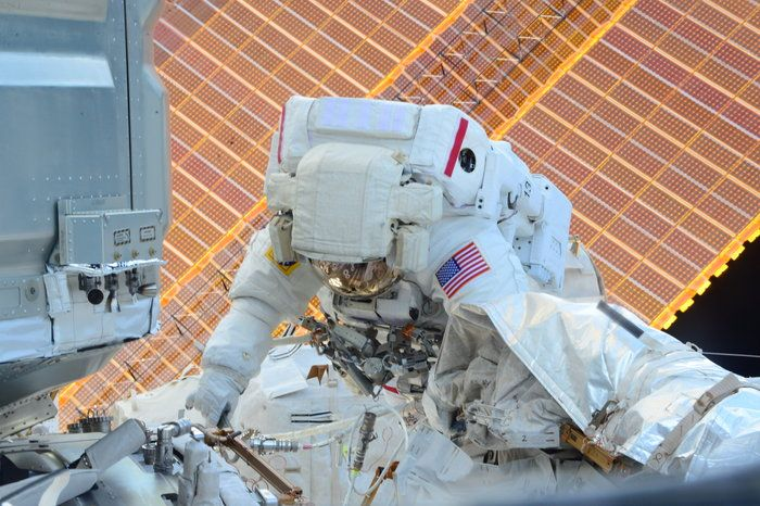 NASA astronaut Scott Kelly during the 34th NASA spacewalk, on 21 December 2015, to free a stuck transporter on the outside of the International Space Station.