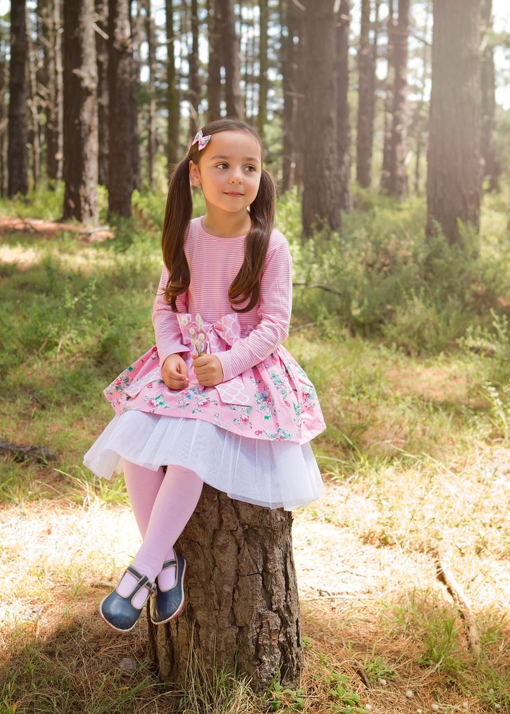 Miss Scarlet is wearing the Ella Dress in Pink Painted Floral with matching bow. An outfit fit for any Princess xx