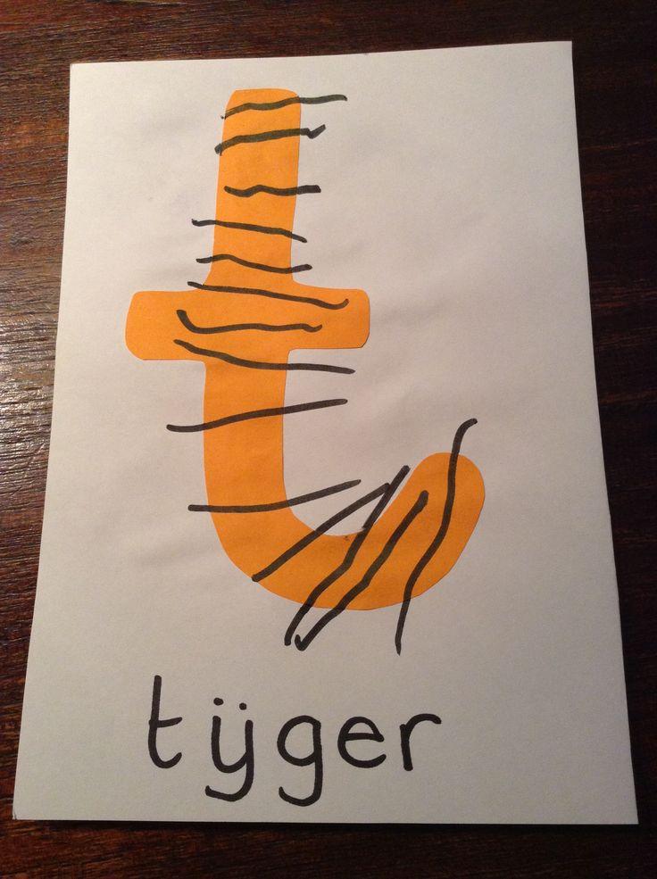 TIJGER - de t van tijger, met streepjes!
