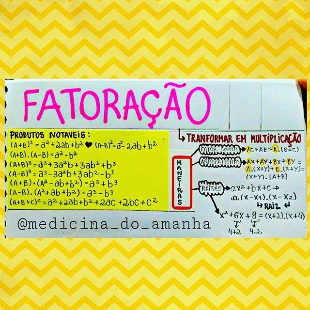 #RESUMO #MATEMÁTICA #FATORAÇÃO ❤❤❤ Também já está disponível para download no blog (RESUMOS 2016 ...