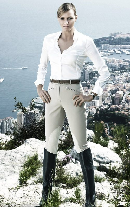 Charlene Wittstock from South Africa now a Princess of Monaco after marrying Prince Albert stands on a precipice in Monaco.