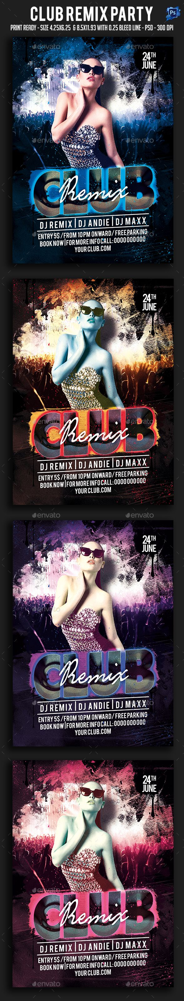 Club Remix Party Flyer — Photoshop PSD #dj #sound • Available here → https://graphicriver.net/item/club-remix-party-flyer/19832533?ref=pxcr