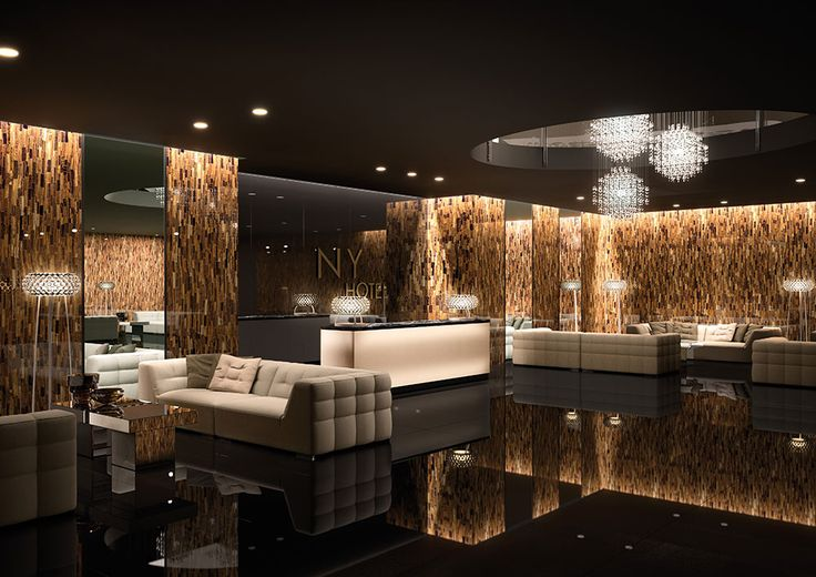 The lobby of this hotel is finished with porcelain slabs in Tiger Gold. Amazing results! Slabs are 5'x10'