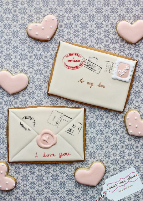 Love Note Cookies by Dessert Menu, Please, via Flickr ~love the stamps and wax marking.