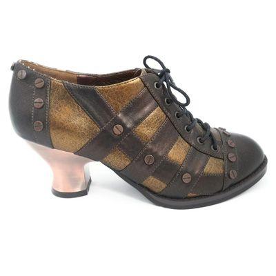 Jade bruine steampunk vintage stijl lage enkel schoen met hak mat