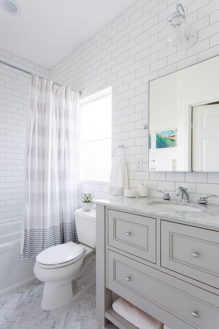 Best 25 subway tile bathrooms ideas on pinterest grey bathrooms beachy and bright kids bathroom subway tile herringbone floor grey and white dailygadgetfo Choice Image