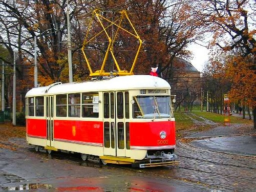 The red trams of Prague. Tatra T1 from 1948...