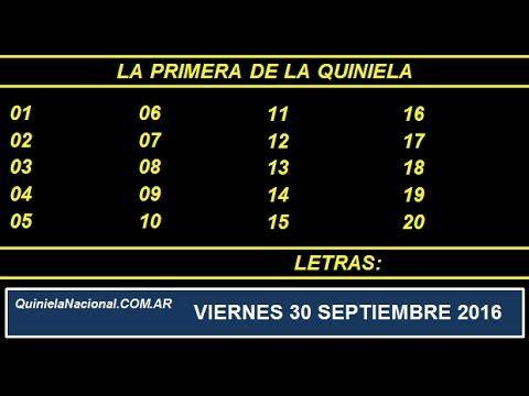 Video Quiniela Nacional La Primera Viernes 30 de Septiembre de 2016 Pizarra del sorteo desde el recinto de Loteria Nacional de las 11:30