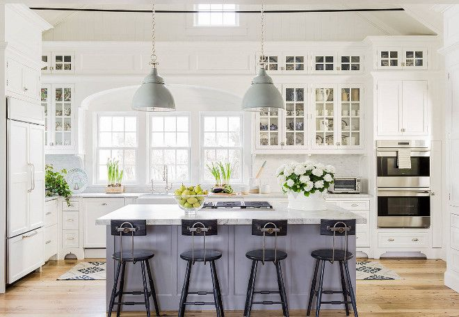 Classic American Kitchen, This classic coastal kitchen features a fresh color palette with soft grays and off-white cabinets and walls. Although sophisticated, this kitchen feels warm and family-friendly.