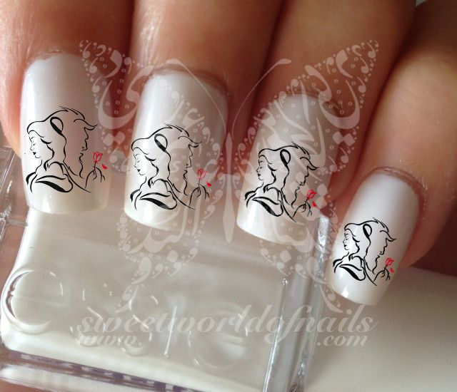 The Nail Art And Beauty Diaries: Beauty And The Beast Belle Rose Nail Art Water Decals