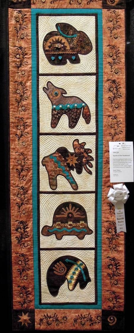 I absolutely LOVE this!  Spirits of the Southwest by Judy Peters.  2013 AZQG. Photo by Quilt Inspiration