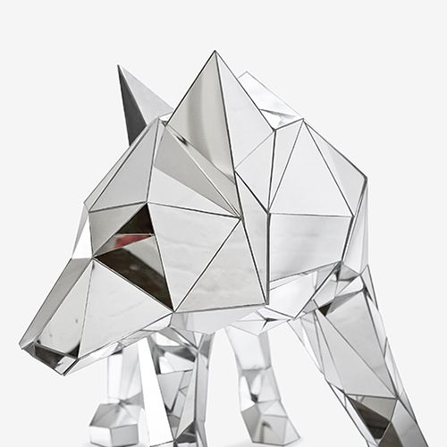 LOOK WHO IT IS.......Mirrored Wolf Sculpture by Arran Gregory
