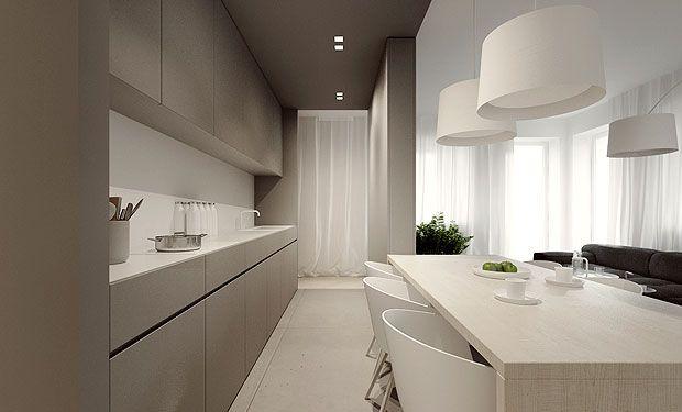 Cuisine design et épurée - jolie ligne dessinée par le tiroir supérieur des meubles bas #kitchen