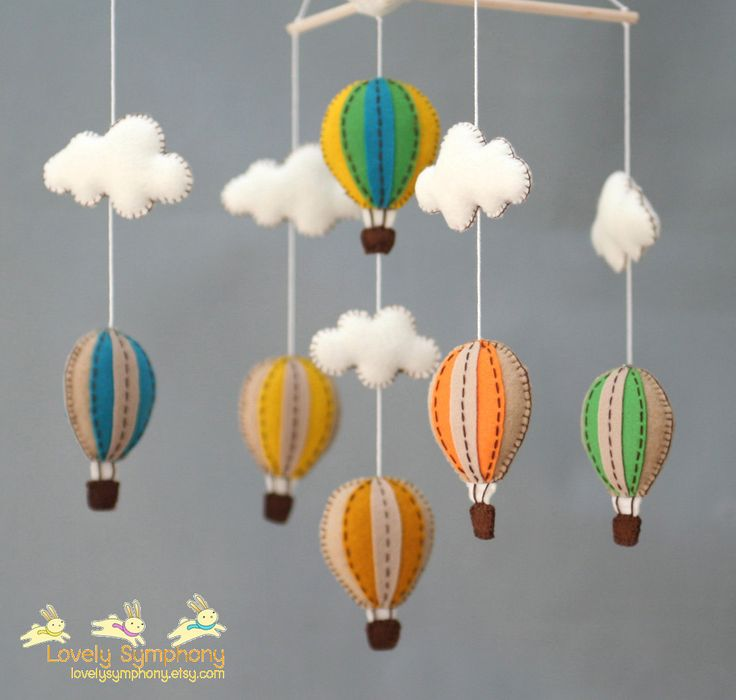 Vintage baby mobile - Muted colors baby crib mobile - vintage hot air balloons baby mobile. $70.00, via Etsy.