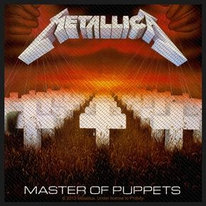 """Official Metallica sew on patch featuring Master Of Puppets design. Size approx 10cm (4"""") x 10cm (4""""), perfect for jackets, jeans, shirts, bags, hats etc"""