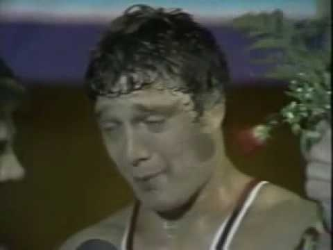 "After overcoming cancer (twice!) and winning America's 2nd ever gold medal in Greco-Roman wrestling, Jeff Blatnick couldn't muster much in the way of a post-match Q Interrupted by tears and trembling with emotion, Blatnick gathered himself just long enough to deliver 4 of the most famous words in Olympic interview history: ""I'm a happy dude."""