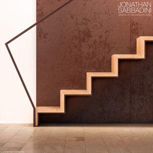 Scala in legno e acciaio corten, studio di materiali e render fotorealistico…
