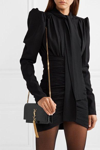 dbb8743aaeb2c SAINT LAURENT - Kate small croc-effect patent-leather shoulder bag ...