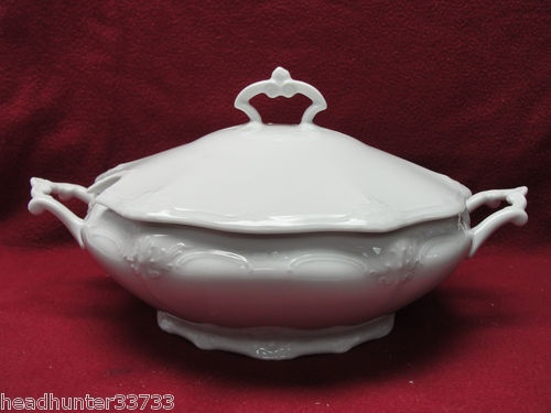 """~~~""""Baroness White"""" covered vegetable or small tureen."""