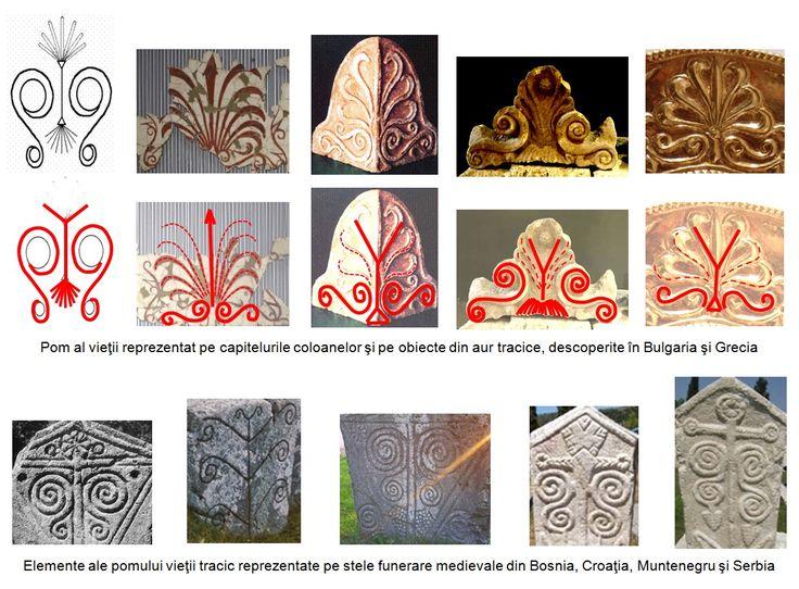 Elemente ale pomului vieţii pe stâlpii funerari medievali, care au suferit influenţa coloanelor cu capiteluri în reprezentarea crenelurilor, a reliefului-plan, a rozetei solare şi a figurilor antropomorfe ale soarelui şi ale lunii.