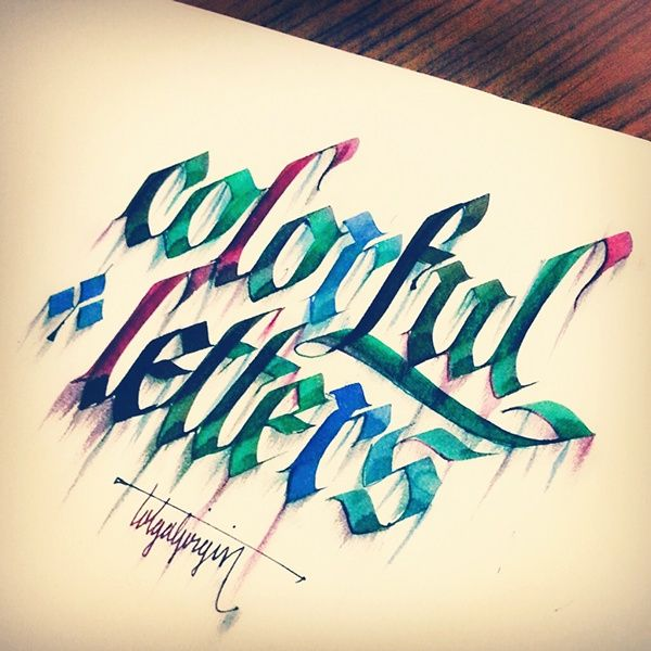 Some Colorful Letterings with Parallelpen - Part 1 by Tolga Girgin, via Behance