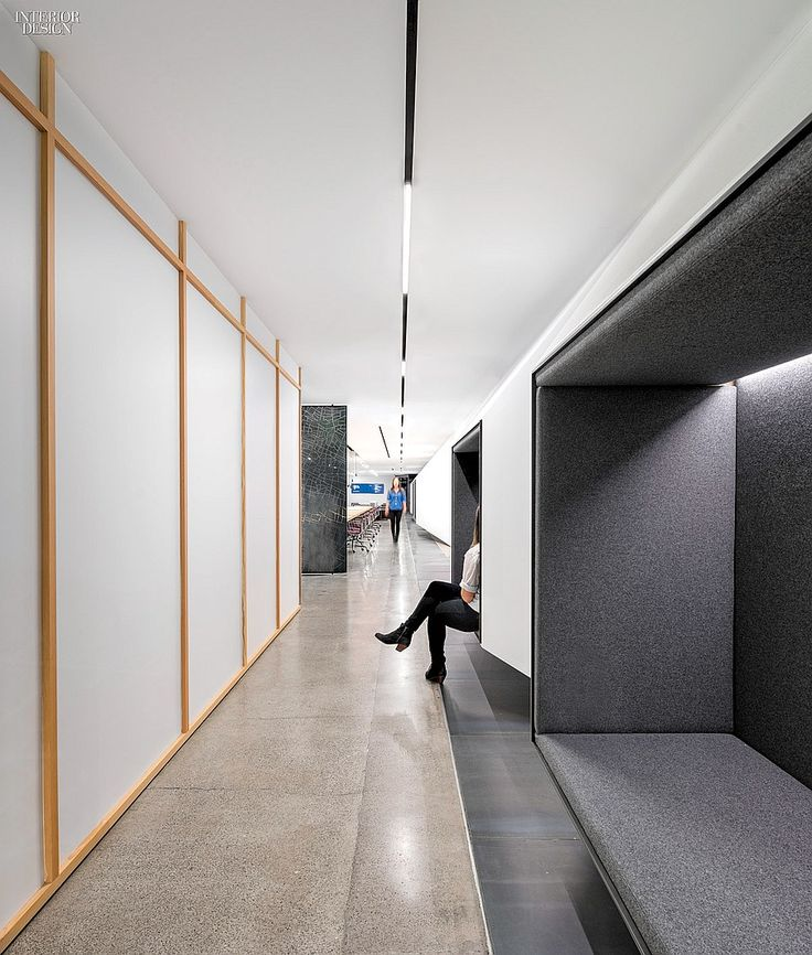 Studio O+A Designs HQ For Uber | Seating niches face a training room's exterior of gypsum board framed in Douglas fir. Divina Melange by Maharam.
