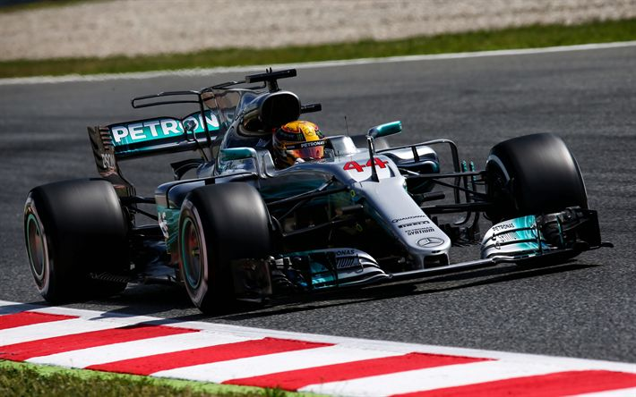 Download wallpapers 4k, Lewis Hamilton, F1, Mercedes AMG F1 Team, Formula 1, W08 Hybrid