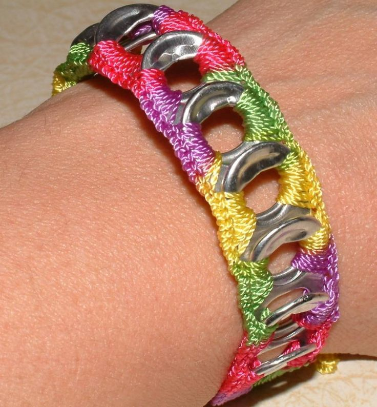 Not your ordinary pop top bracelet! This darling soda tab bracelet in Pinwheel Bright print - pink, purple, yellow and green - was lovingly made from post-consumer recycled soda can pull tabs that were carefully cleaned and sharp edges rounded. The tabs were then finished by crocheting them together with this wonderful crochet thread to make a cute tie-on bracelet that makes me think of pinwheels blowing in a spring breeze!   Here's a great way to show off your fashion sense AND eco sense…