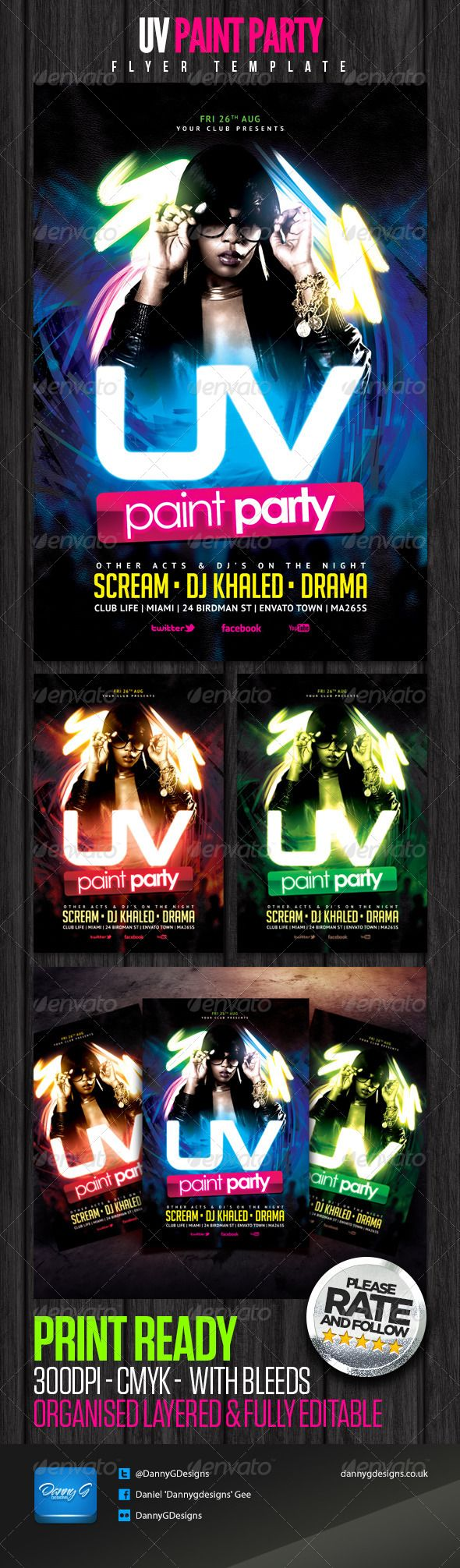 UV Paint Party Flyer Template  - PSD Template • Only available here ➝ http://graphicriver.net/item/uv-paint-party-flyer-template/5258711?ref=pxcr