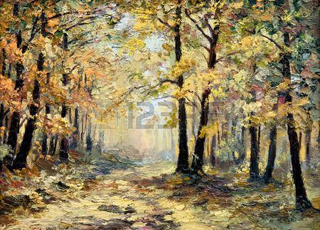 olejomalba krajina - podzimní les, plné spadaného listí, barevné obrázky, abstraktní kresby, tapety; strom; dekorace photo