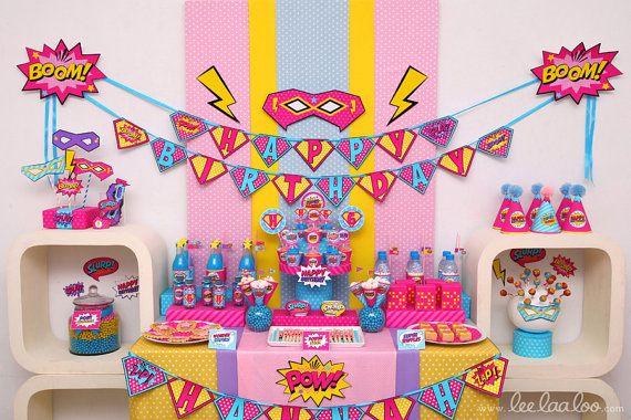 Superhero Girl Birthday Party Package Collection Set by LeeLaaLoo