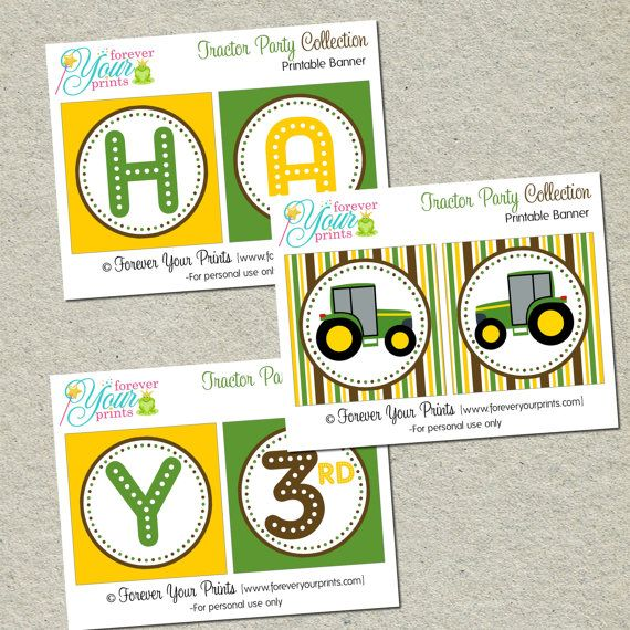 Printable Tractor Party Birthday Banner - You Print - Digital File #birthdaybanner #greentractor #partylabels