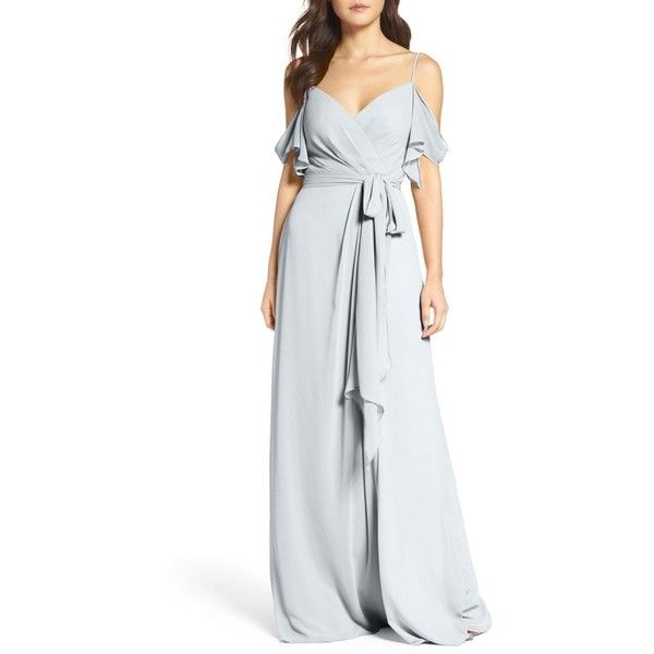 Women's Watters Aldridge A-Line Chiffon Gown ($285) ❤ liked on Polyvore featuring dresses, gowns, french blue, blue off the shoulder dress, off the shoulder dress, blue gown, off the shoulder evening gown and chiffon wrap dress