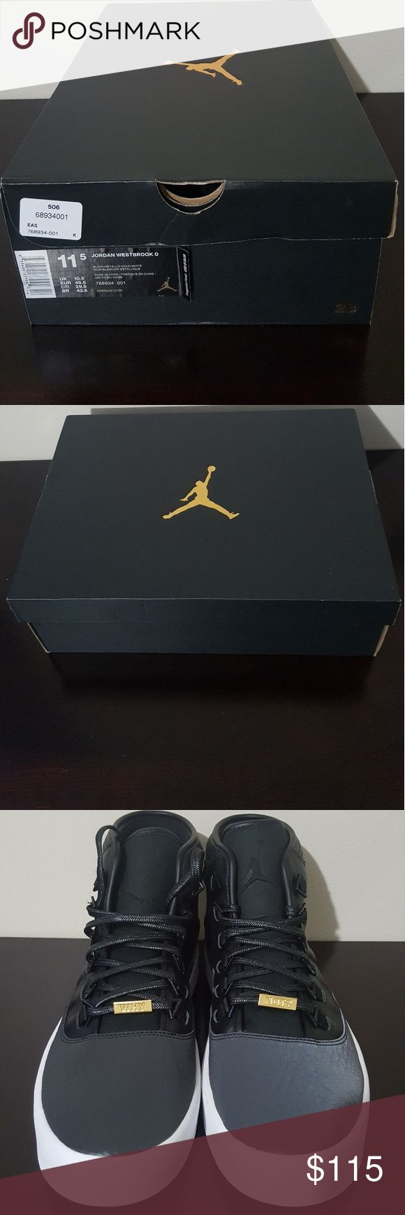 Brand new in the box  NIKE Jordan Westbrook 0 Russell Westbrook signature shoe through the Jordan line.  All black,  white bottom casual shoe. NIKE Shoes Sneakers
