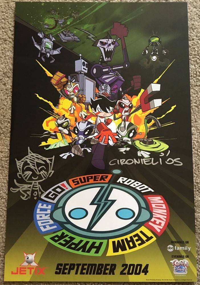 Super Robot Monkey Team Hyper Force Go Signed Original Promo Poster Toon Disney  from $14.99