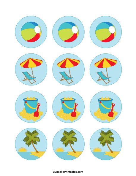 Beach cupcake toppers. Use the circles for cupcakes, party favor tags, and more. Free printable PDF download at http://cupcakeprintables.com/toppers/beach-cupcake-toppers/