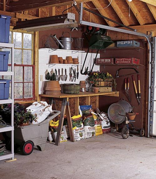 easy potting bench; wall support, sawhorse, plywood top, bins  and cart for soil, pots, etc. pegboard and hooks for small tools.